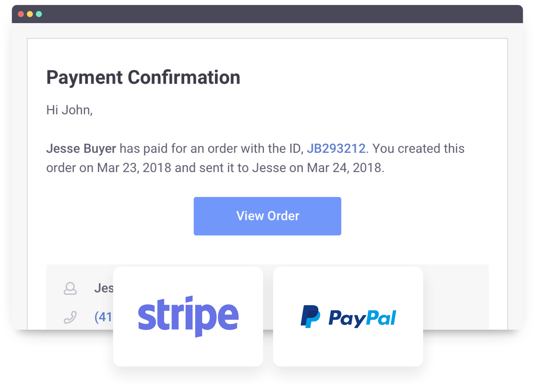 Payment confirmation receipt Stripe PayPal Order