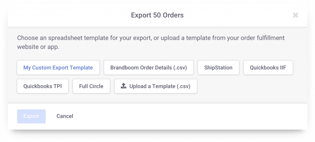 Export orders easily